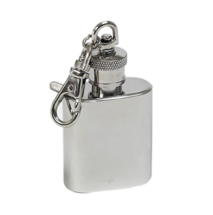 1Oz Polished Finish Stainless Steel Hip Flask Key Ring
