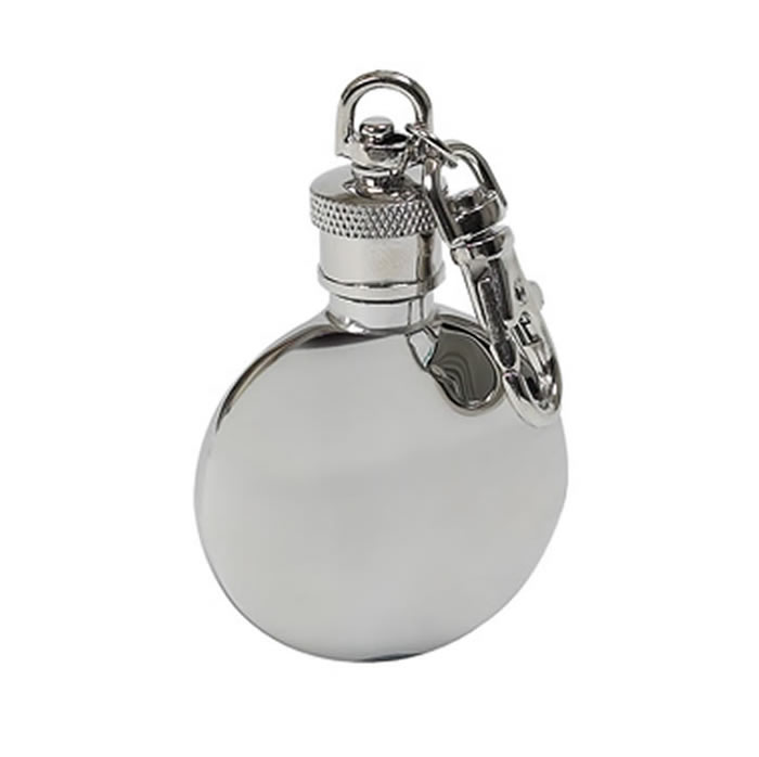 1Oz Polished Finish Stainless Steel Round Hip Flask Key Ring