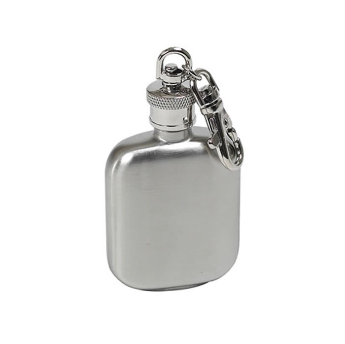 1 And A Half Oz Matt Stainless Steel Hip Flask Key Ring