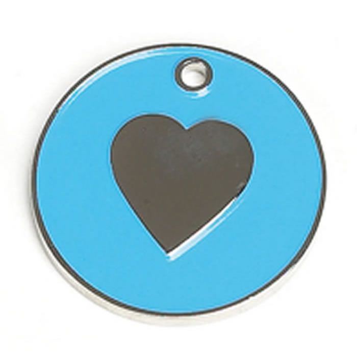 Light Blue Heart Dog Pet Tag