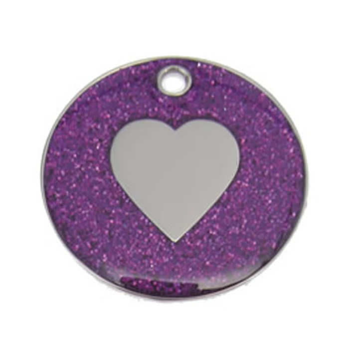 Purple Heart Glitter Dog Pet Tag