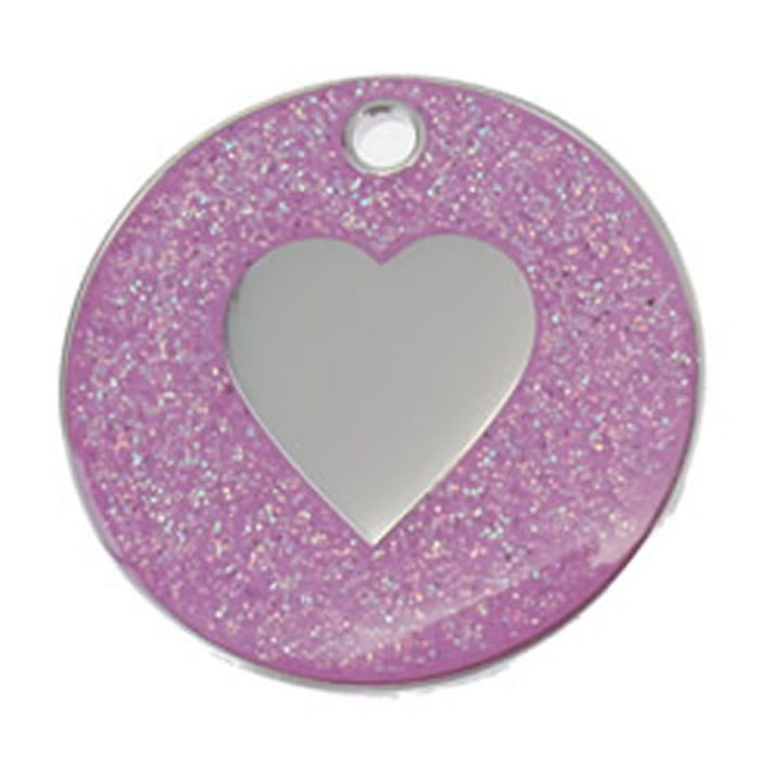 Pink Heart Glitter Dog Pet Tag