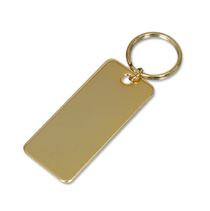 Gold Plated Rectangular Key Ring