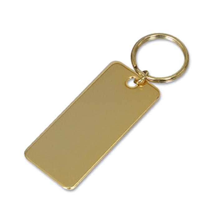 Gold Plated Rectangular Key Ring