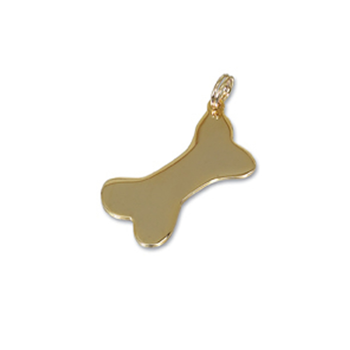 Large Gold Plated Dog Bone Pet Tag