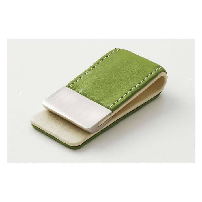 Green Leather Effect Money Clip