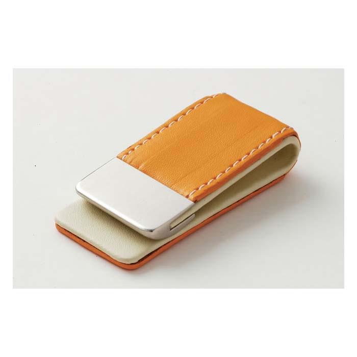 Orange Leather Effect Money Clip
