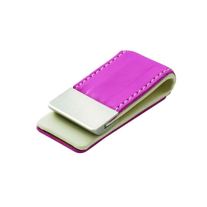 Pink Leather Effect Money Clip