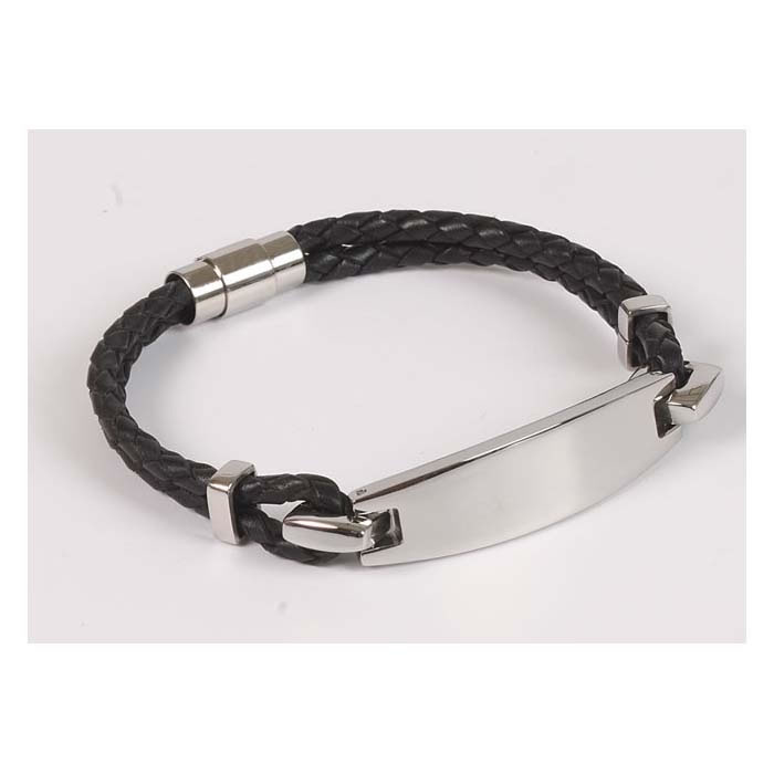 Black Leather And Stainless Steel Bracelet