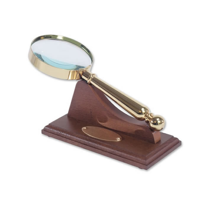Gold Plated Magnifying Glass With Wooden Stand