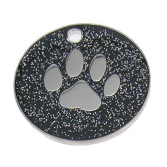 Black Paw Glitter Dog Pet Tag