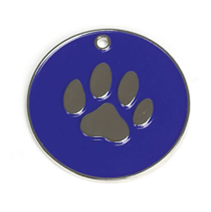 Dark Blue Paw Dog Pet Tag