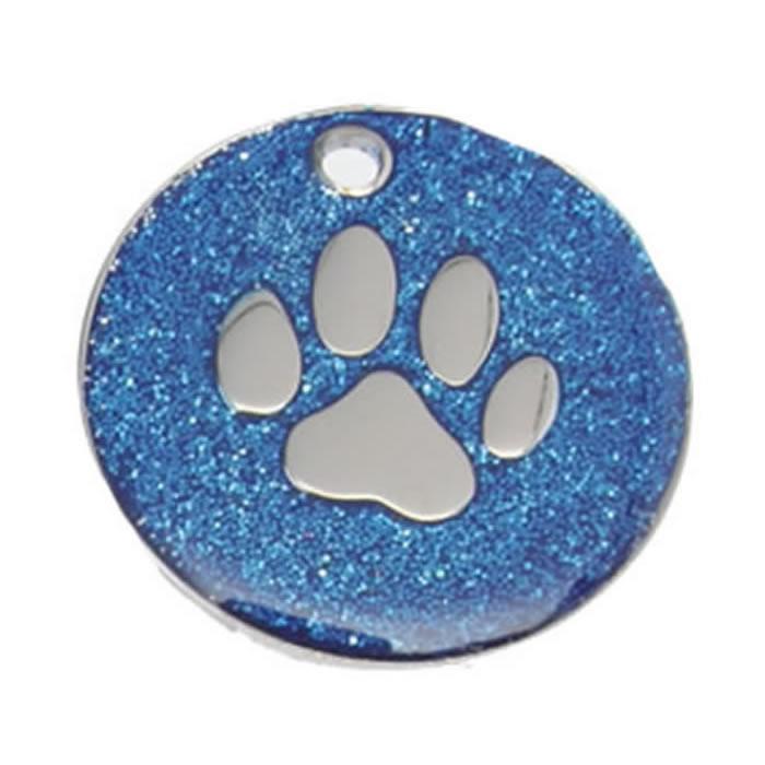 Dark Blue Paw Glitter Dog Pet Tag
