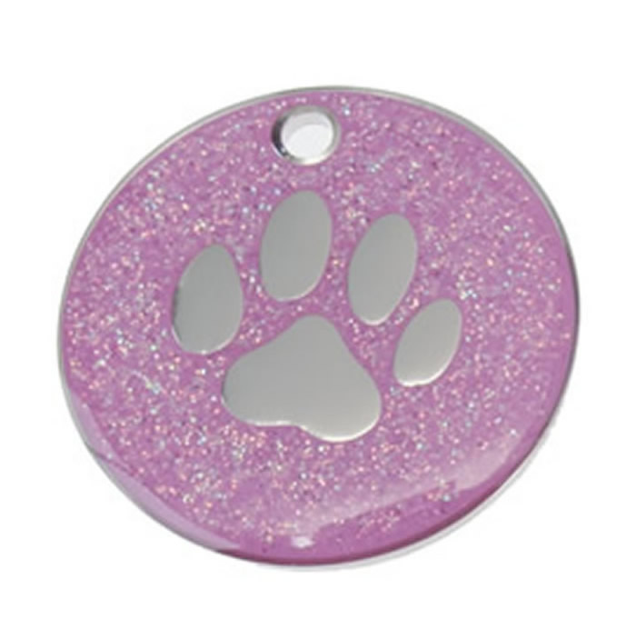 Pink Paw Glitter Dog Pet Tag