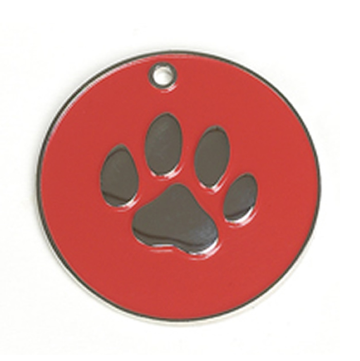 Red Paw Dog Pet Tag