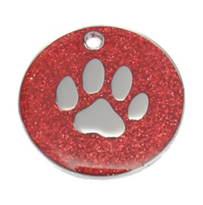 Red Paw Glitter Dog Pet Tag