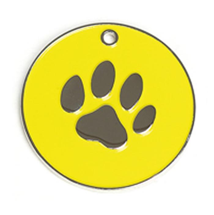 Yellow Paw Dog Pet Tag