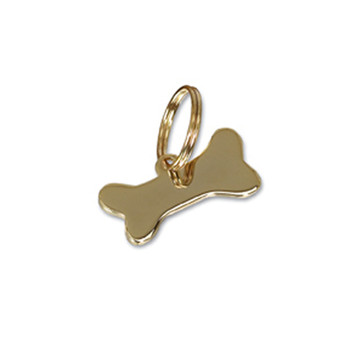 Small Gold Plated Bone Dog Pet Tag