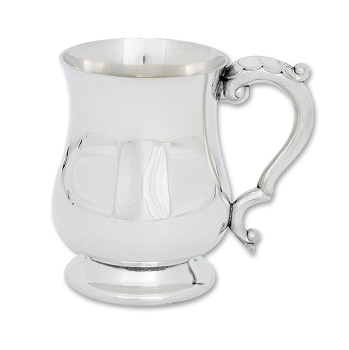 One Pint Polished Pewter Georgian Tankard