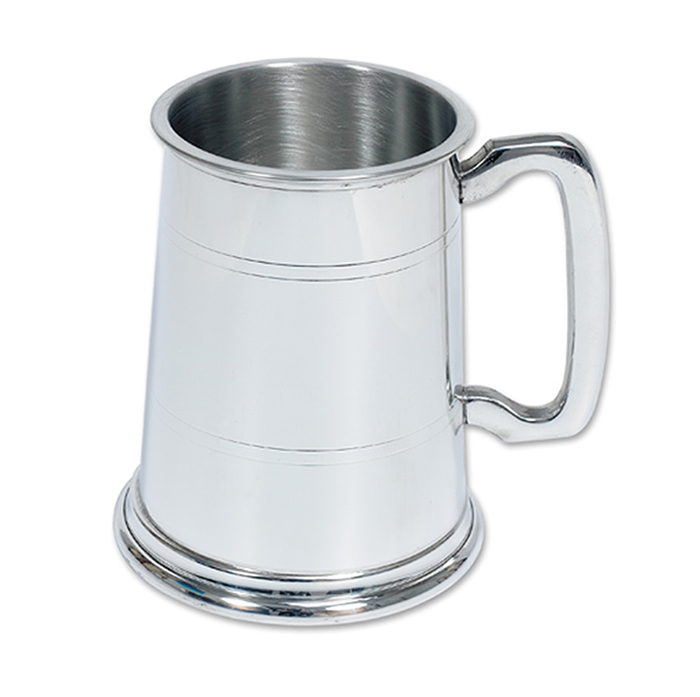 Half Pint Polished Pewter Tankard
