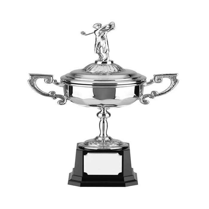 9 Inch Nickel Plated Patterned Trophy Cup