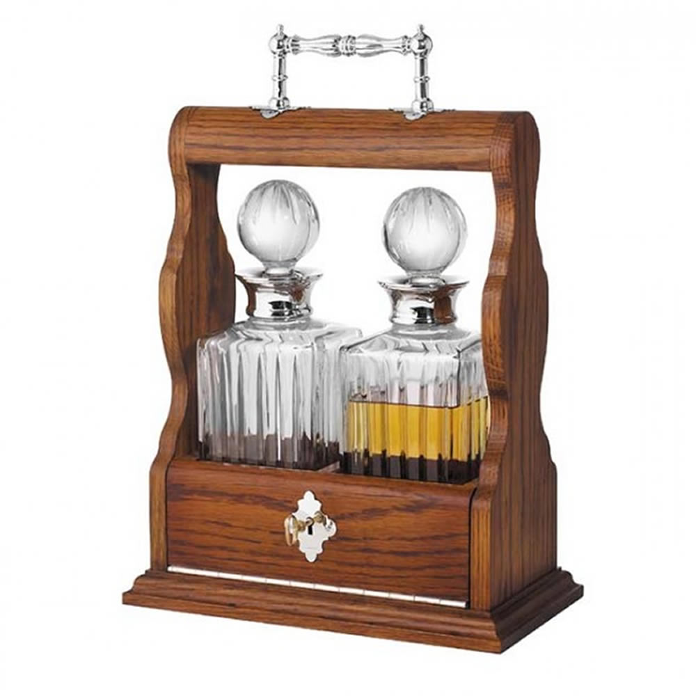 Oak Tantalus Decanter Double