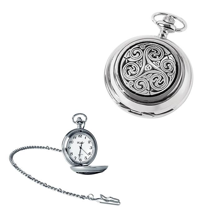Chrome Celtic Swirl Quartz Pocket Watch With Chain