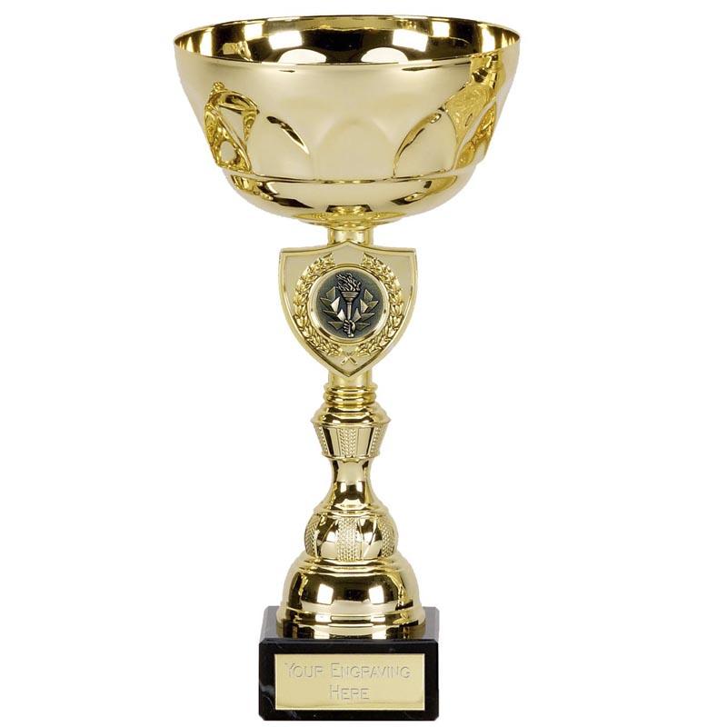 9 Inch Gold Centre Shield Pegasus Trophy Cup