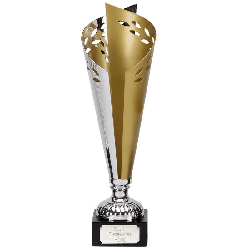 12 Inch Silver & Gold Torch Gold Laurel Award