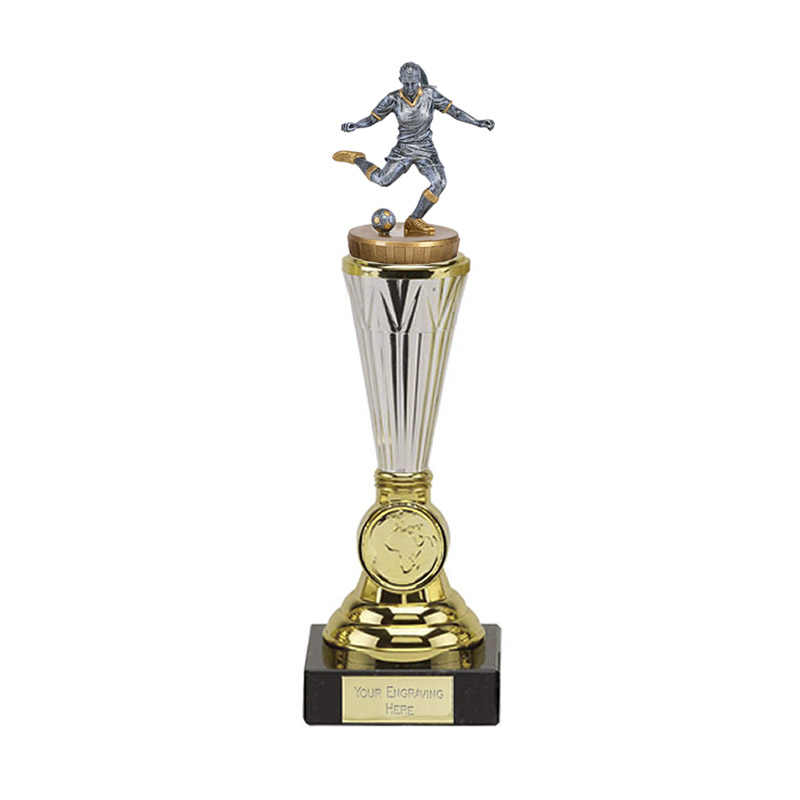 10 Inch Footballer Female Figure On Paragon Award