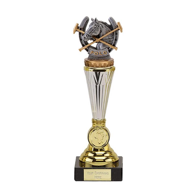 26cm Horse Polo Figure On Horse Riding Paragon Award