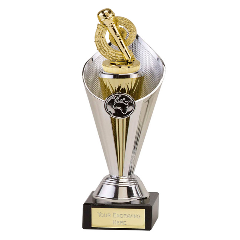 22cm Gold Microphone Place Figure On Music Beacon Award