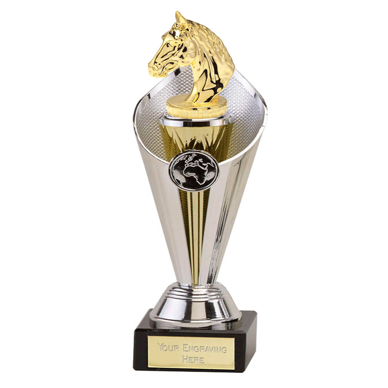 24cm Gold Horses Head Figure on Horse Riding Beacon Award