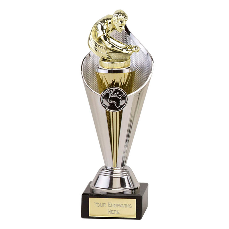 27cm Gold Snooker & Pool Figure On Beacon Award