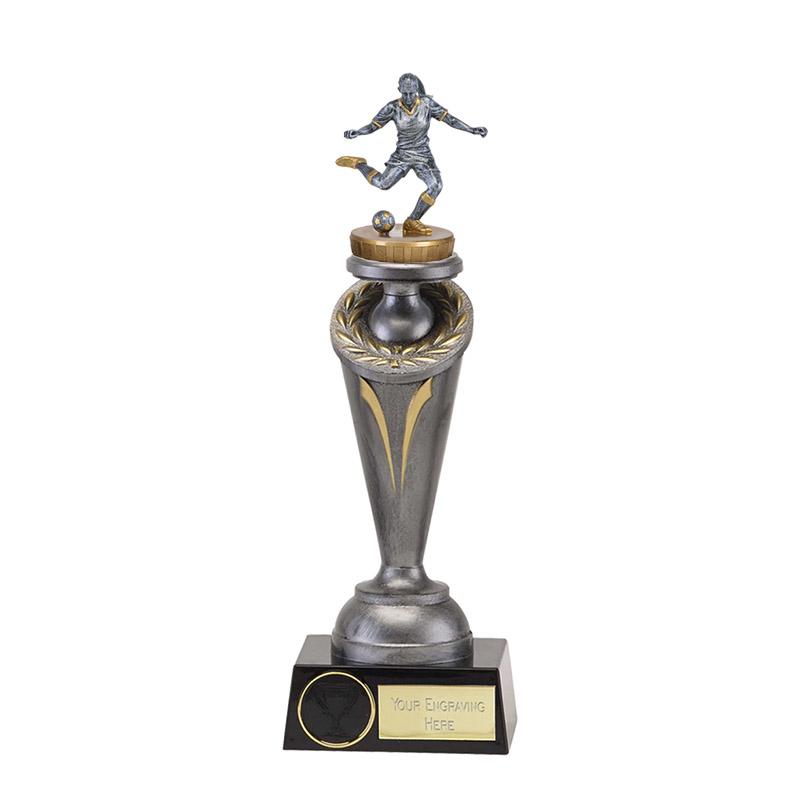 22cm Footballer Female Figure on Football Crucial Award