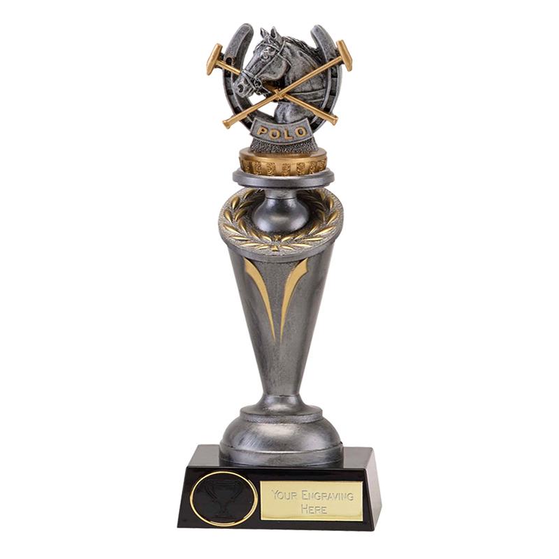 24cm Horse Polo Figure on Horse Riding Crucial Award