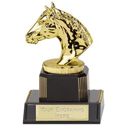 13cm Gold Horses Head Figure on Horse Riding Podium Award
