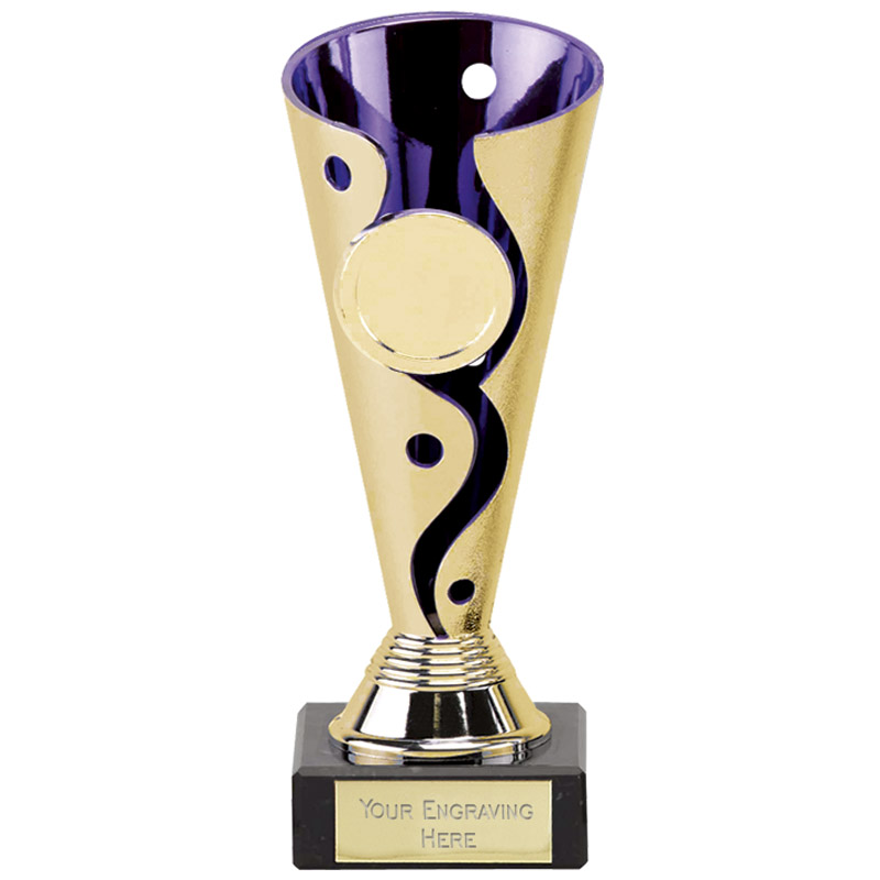 6 Inch Gold with Purple Conical Carnival Trophy Cup