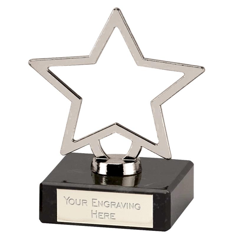 4 Inch Silver Star Outline Galaxy Award