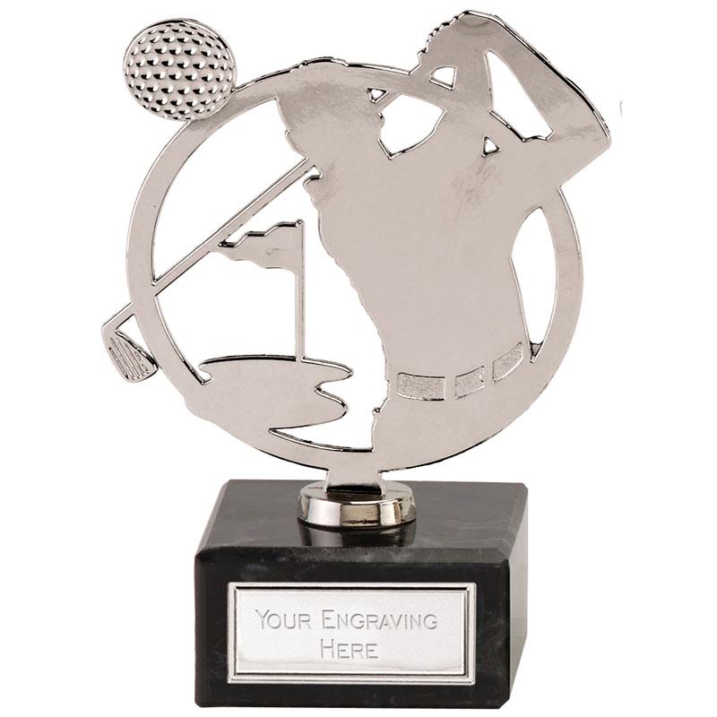 6 Inch Silver Golfer Scene Golf Galaxy Award