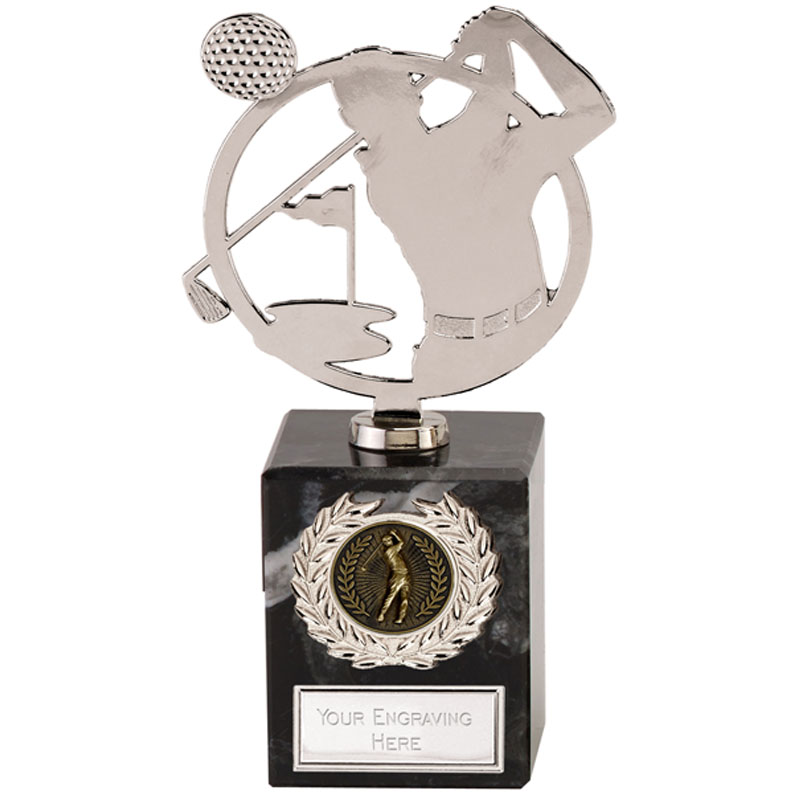7 Inch Silver Golfer Scene Golf Galaxy Award
