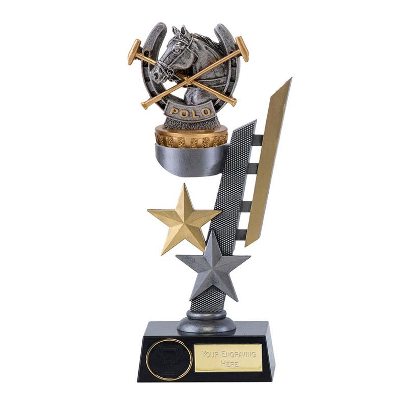28cm Horse Polo Figure On Horse Riding Arena Award