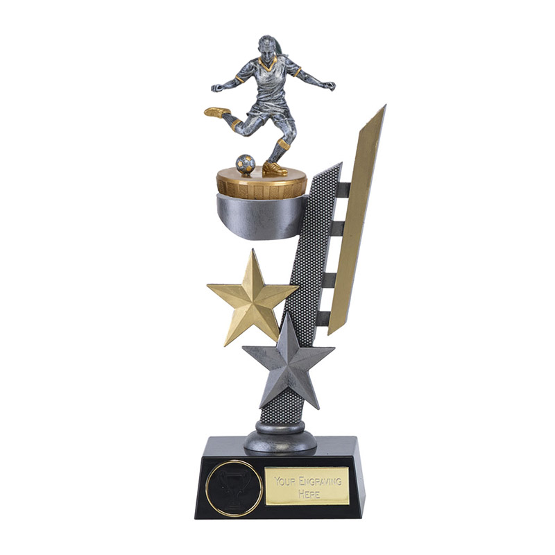 28cm Footballer Female Figure On Arena Award