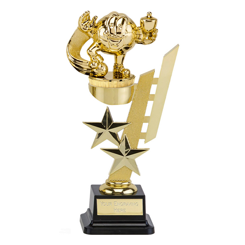 10 Inch Gold Football Character Figure on Football Sports Star Award