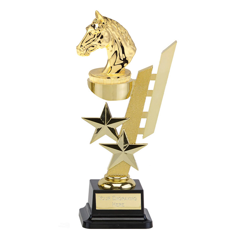 10 Inch Gold Horses Head Figure on Horse Riding Sports Star Award