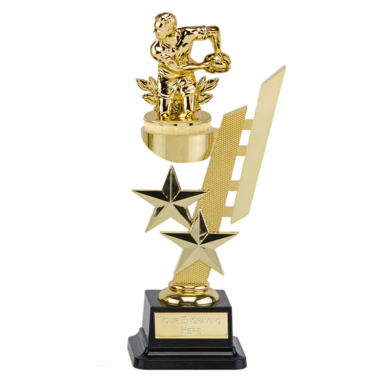 10 Inch Gold Rugby Figure on Rugby Sports Star Award