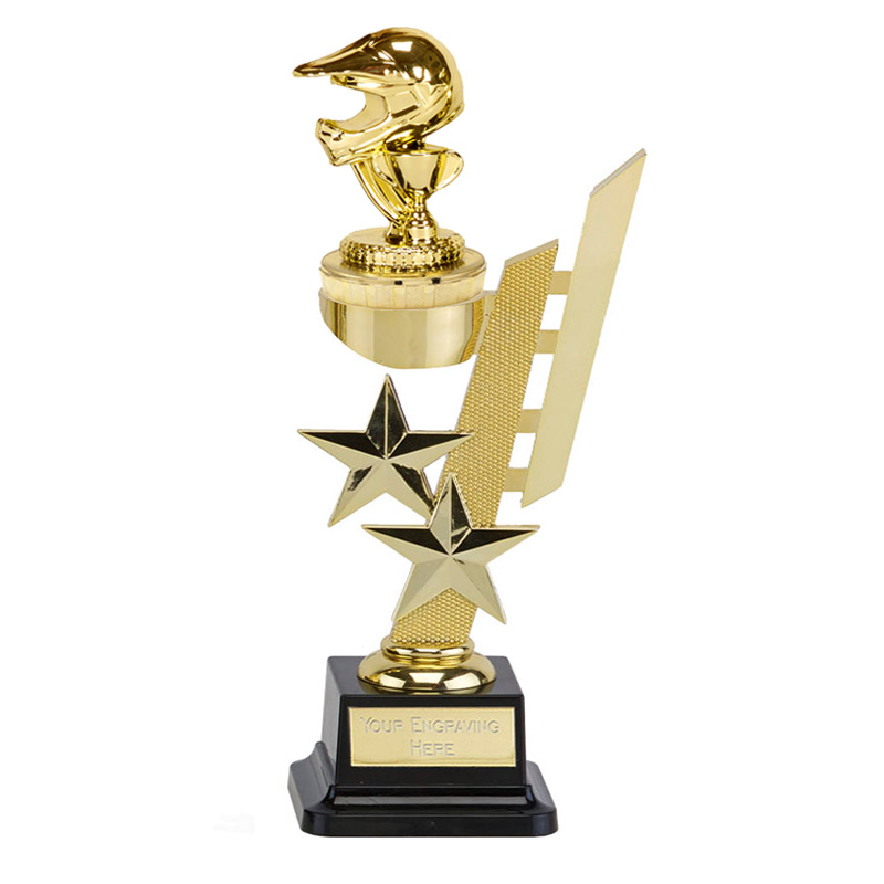 10 Inch Gold Motorcross Helmet Figure on Motorsports Sports Star Award