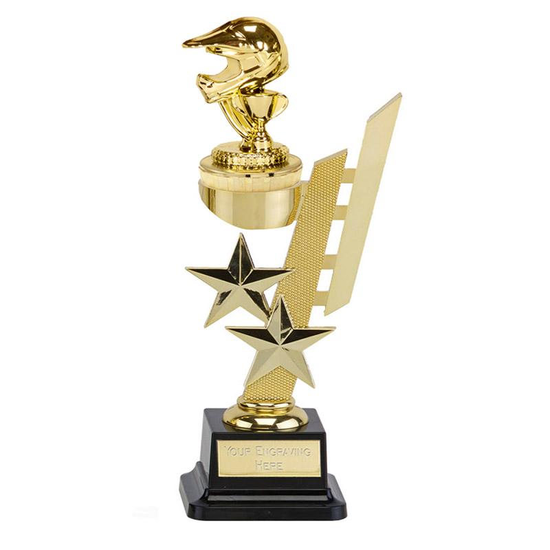 10 Inch Gold Motorcross Helmet Figure on Motorsports Sports Star Award