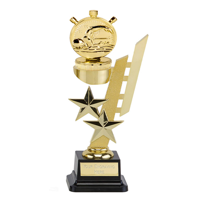 10 Inch Gold Swimming Figure On Sports Star Award