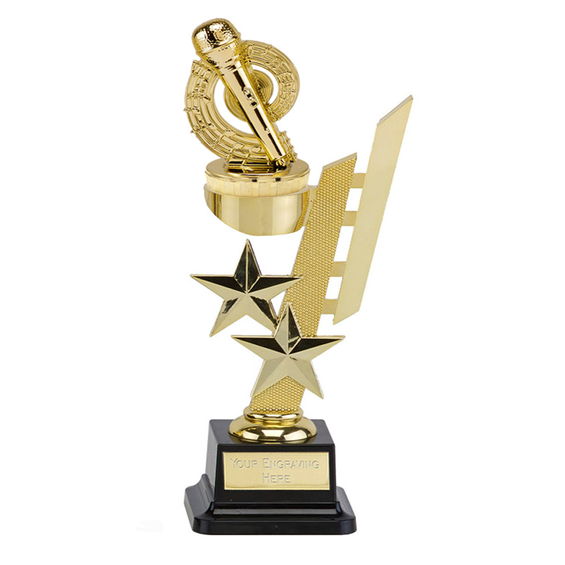 10 Inch Gold Microphone Place Figure on Music Sports Star Award